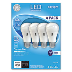 LED Daylight A19 Dimmable Light Bulb, 10 W, 4/Pack