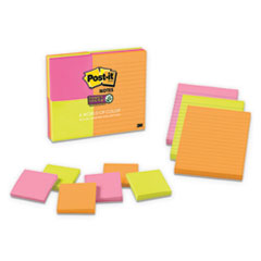 Post-It  Notes Super Stickypads In Rio De Janeiro Colors, (6) 3 X 3 & (3) 4 X 6, 90-Sheet Pads, 9 Pads/Pk