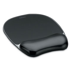 "Gel Crystals Mouse Pad with Wrist Rest, 7.87"" x 9.18"", Black"