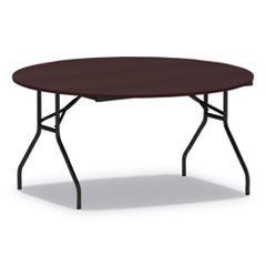 Round Wood Folding Table, 59 Dia x 29h, Mahogany
