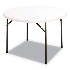 Round Plastic Folding Table, 48 Dia x 29h, White