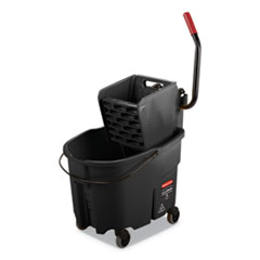 WaveBrake 2.0 Bucket/Wringer Combos, Side-Press, 35 qt, Plastic, Black