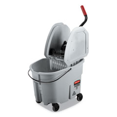 WaveBrake 2.0 Bucket/Wringer Combos, Down-Press, 35 qt, Plastic, Gray
