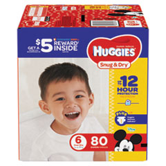 Snug and Dry Diapers, Size 6, 35 lbs min, 80/Pack