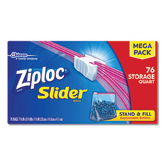 "Slider Storage Bags, 1 qt, 5.88"" x 7.88"", Clear, 9/Carton"