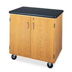 Mobile Storage Cabinet, 36w x 24d x 36h, Black/Oak