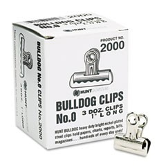 "Bulldog Clips, Steel, 5/16"" Capacity, 1""w, Nickel-Plated, 36/Box"