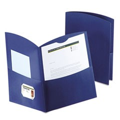 Contour Two-Pocket Recycled Paper Folder, 100-Sheet Capacity, Dark Blue