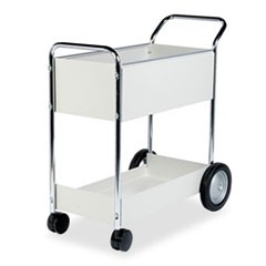 Steel Mail Cart, 150-Folder Capacity, 20w x 40.5d x 39h, Dove Gray