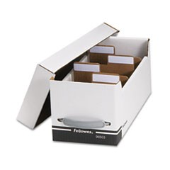 Fellowes Corrugated Media File, Holds 125 Diskettes/35 Standard Cases, White/Black