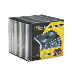 Fellowes Slim Jewel Case, Clear/Black, 25/Pack