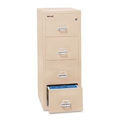 Four-Drawer Vertical File, 17.75w x 31.56d x 52.75h, UL 350� for Fire, Letter, Parchment