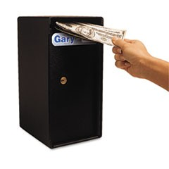 Theft Resistant Compact Cash Trim Safe, 0.2 ft3, 6w x 7d x 12h, Black
