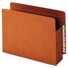 Heavy-Duty Expanding File Pocket, End Tab, 3 1/2 Inch, Letter, Brown, 10/Box