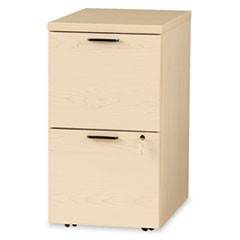 10500 Series File/File Mobile Pedestal, 15 3/4w x 22 3/4d x 28h, Natural Maple