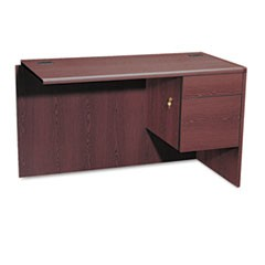 "10700 ""L"" Workstation Return, Right 3/4 Pedestal, 48w x 24d x 29 1/2h, Mahogany"
