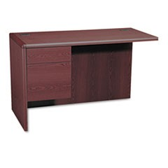 "10700 ""L"" Workstation Return, Left 3/4 Pedestal, 48w x 24d x 29 1/2h, Mahogany"