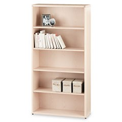 10700 Series Wood Bookcase, Five Shelf, 36w x 13 1/8d x 71h, Natural Maple