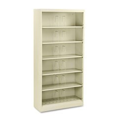 600 Series Steel Open Shelving, Six-Shelf, 36w x 13-3/4d x 75-7/8h, Putty