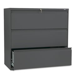 800 Series Three-Drawer Lateral File, 42w x 19-1/4d x 40-7/8h, Charcoal