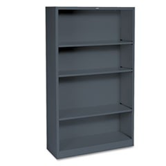 Hon Metal Bookcase, Four-Shelf, 34-1/2W X 12-5/8D X 59H, Charcoal