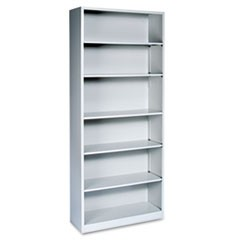 Hon Metal Bookcase, Six-Shelf, 34-1/2W X 12-5/8D X 81-1/8H, Light Gray