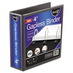 "Gapless Loop Ring View Binder, 11 x 8-1/2, 4"" Capacity, Black"
