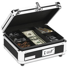 Plastic & Steel Cash Box w/Tumbler Lock, Black & Chrome