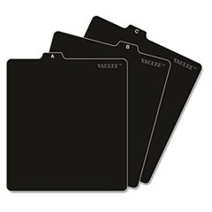 A-Z CD File Guides, 1/3-Cut Top Tab, A to Z, 5 x 5.75, Black, 26/Set