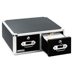 Vaultz Locking 6 x 4 Two-Drawer Index Card Box, 3000-Card Capacity, Black