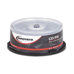 CD-RW Discs, 700MB/80min, 12x, Spindle, Silver, 25/Pack