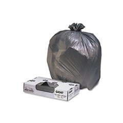 Low-Density Commercial Can Liners, 56gal, 1.7mil, Black, 100/Carton