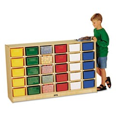 Tray Mobile Storage, 57w x 15d x 35.5h, Birch/Assorted