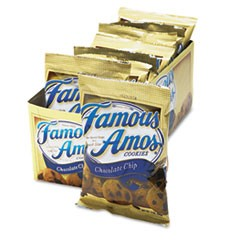 Famous Amos Cookies, Chocolate Chip, 2 oz Snack Pack, 8/Box