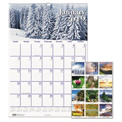 Recycled Scenic Beauty Monthly Wall Calendar, 12 x 16 1/2, 2019