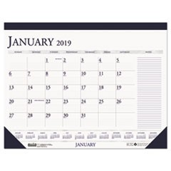 Recycled Two-Color Monthly Desk Pad Calendar w/Large Notes Section, 22x17, 2019