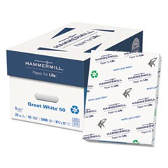 Great White 50 Recycled Print Paper, 92 Bright, 20lb, 8.5 x 11, White, 500 Sheets/Ream, 10 Reams/Carton