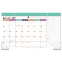 Harmony Desk Pad, 17 3/4 X 9 7/8, Adult Coloring/Black/White/Teal, 2019