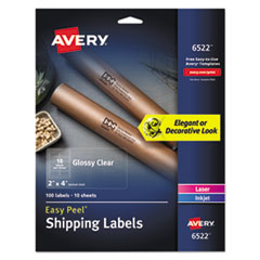 Glossy Clear Easy Peel Mailing Labels w/ Sure Feed Technology, Inkjet/Laser Printers, 2 x 4, Clear, 10/Sheet, 10 Sheets/Pack