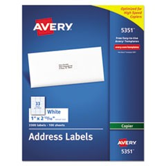 Copier Mailing Labels, Copiers, 1 x 2.81, White, 33/Sheet, 100 Sheets/Box