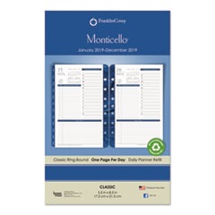 Monticello Dated One-Page-per-Day Planner Refill, 5 1/2 x 8 1/2, 2019