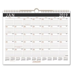 Contemporary Medium Monthly Wall Calendar, 14 7/8 x 11 7/8, 2019