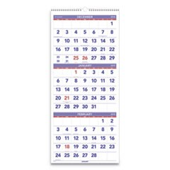 Vertical-Format Three-Month Reference Wall Calendar, 12 x 27, 2019