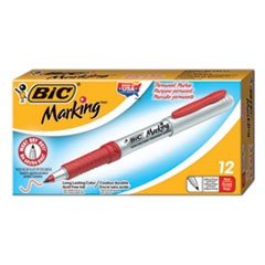 Marking Ultra-Permanent Marker, Extra-Fine Needle Tip, Rambunctious Red, Dozen