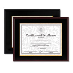 Hardwood Document/Certificate Frame w/Mat, 11 x 14, 8 1/2 x 11, Black