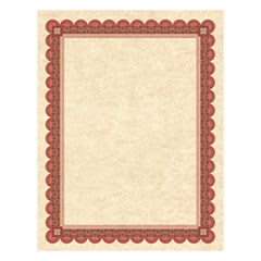 Parchment Certificates, Copper w/Red & Brown Border, 24 lbs, 8-1/2 x 11, 25/Pack