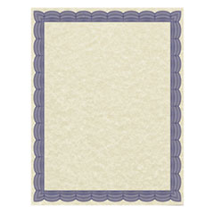 Parchment Certificates, Traditional, 8 1/2 x 11, Ivory w/ Blue Border, 50/Pack