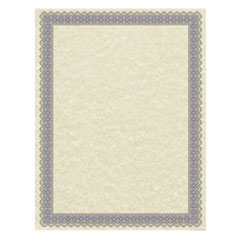 Parchment Certificates, Antique, 8 1/2 x 11, Ivory w/ Blue and Silver-Foil Border, 50/Pack