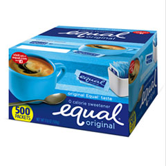 Equal Zero Calorie Sweetener, 0.035 Oz Packets, 500/Box