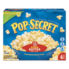 Microwave Popcorn, Extra Butter, 3.2oz Bags, 6/Box